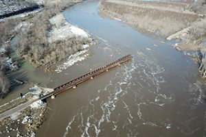 Turkey River bridge washout, Pattison aggregates were vital to restoring rail service across the Turkey River in Iowa